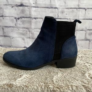 "Seychelles blue suede ankle boots w/ 1.5"" heel"
